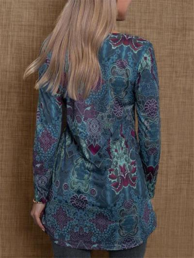 Retro Style Relaxed Fit V Neck Floral Long Sleeve Pullover Tops