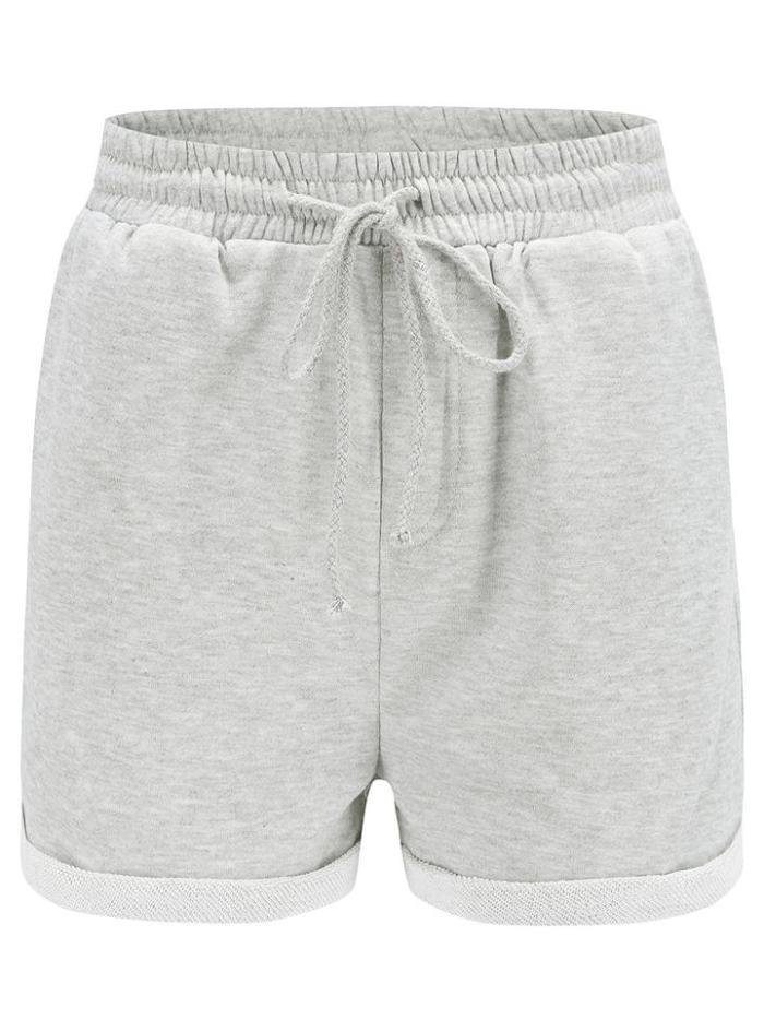 Women Roll Rim Elastic High Waist Casual Shorts