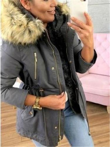 Extra Cozy Zipper Pocket Faux Fur Hooded Coat