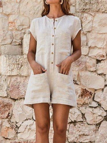 New Fashion Short Sleeve Round Neck Jumpsuit Shorts