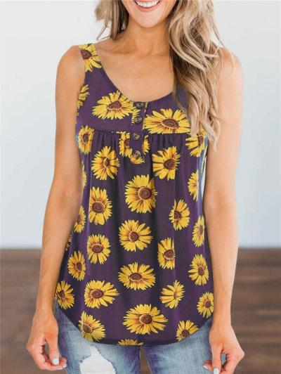 Casual Fit Scoop Neck Sunflower Front Button Sleeveless Tank Top