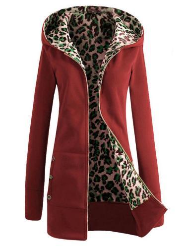 Cozy Warm Leopard Printed Full Zipper Solid Color Hooded Coat