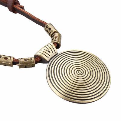 Vintage Thread Round Pendant Gold Necklaces Leather Long Necklaces for Women Men