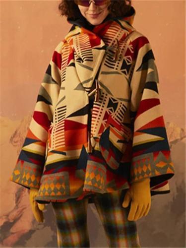 Women's Long Sleeve Rhombus Printed Hoodie Woolen OverCoat