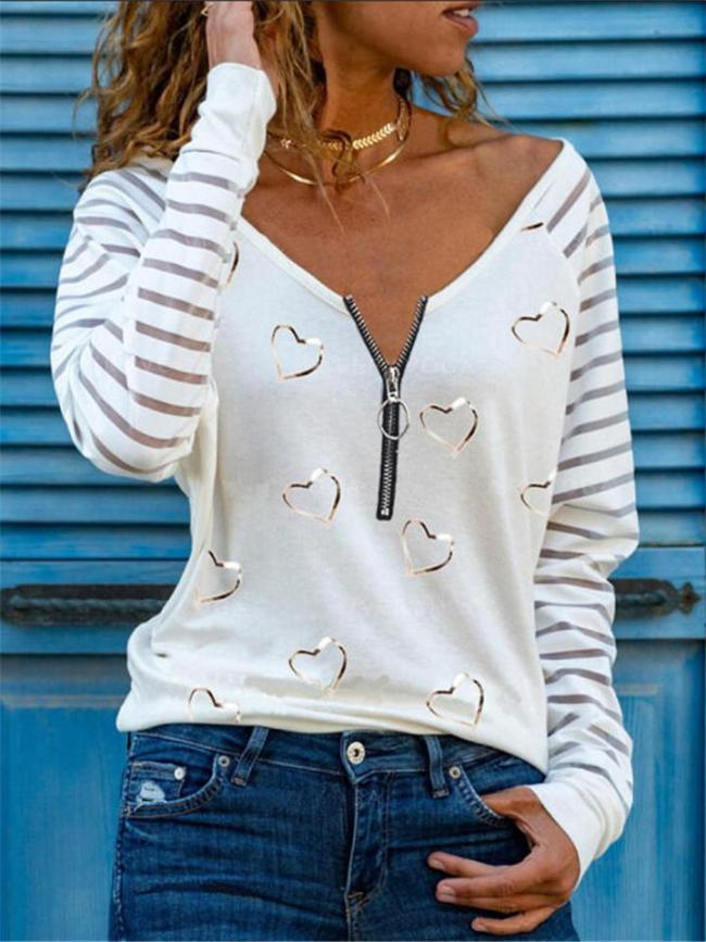 Relaxed Fit Heart Striped Printed Zipper Long Sleeve Pullover Tops