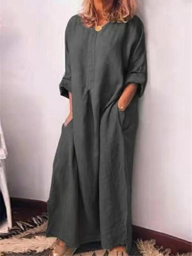 Oversized Long Sleeve Solid Color Pocket Linen Maxi Dress