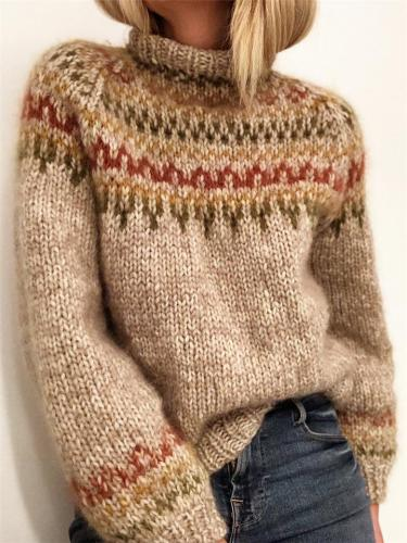 Vintage Knitted Jacquard Heap Collar Sweater