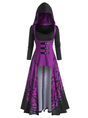 Retro Style Hooded Asymmetric Hem Long Sleeve Cloak Dress