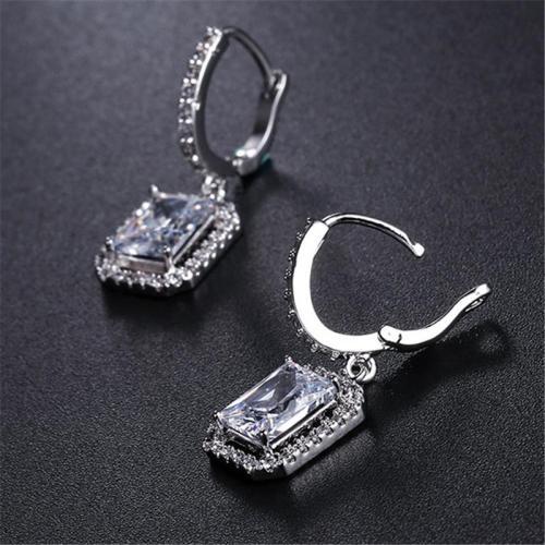 Shiny Square Shaped Dangled Hoop Earrings