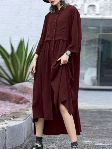 Loose Fit Round Neck Side Slit Neck Button Up Midi Length Shirt Dress