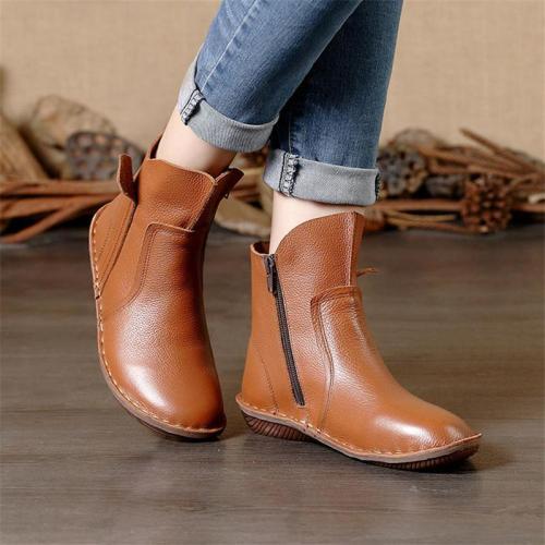 Vintage Genuine Leather Short Martin Boots