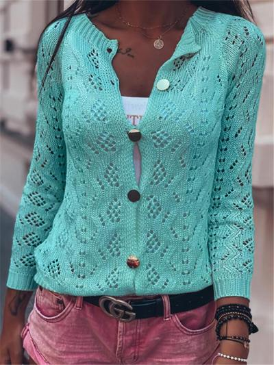 Casual Fit Lightweight Open Knit Cropped Button Up Cardigan