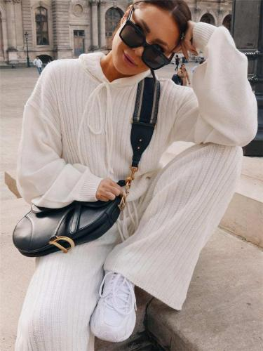 Casual Solid Color Hooded Sweatshirt + Trousers Sets
