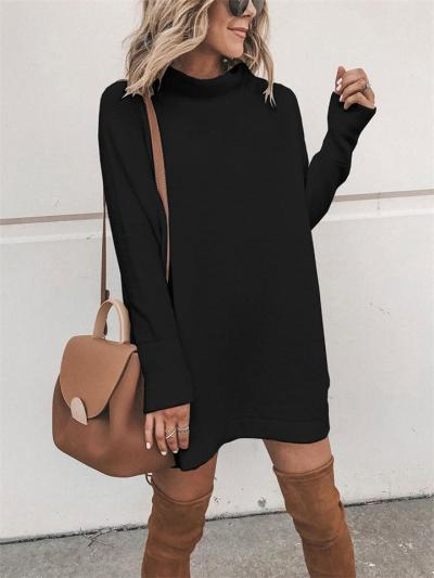 Casual Style Pullover Turtleneck Solid Color Knitted Sweater Dress