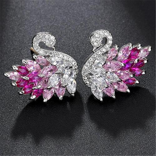Fashionable Swan Zirconium Silver Stud Earrings