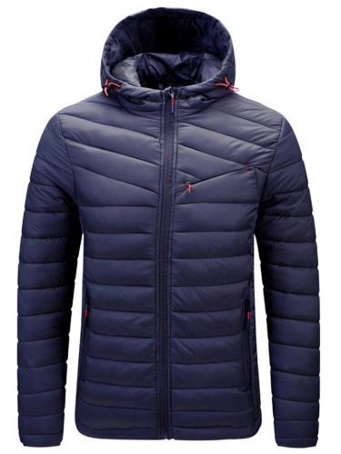 Men's High Collar Zip Pocket Drawstring Hooded Cotton Coat