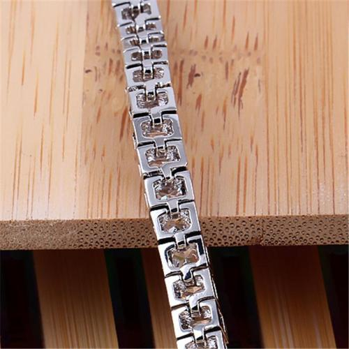 Glamorous Platinum Cubic Zirconia Bracelet