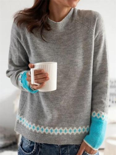 Casual Style High Neck Contrasting Long Sleeve Pullover Knitted Sweater