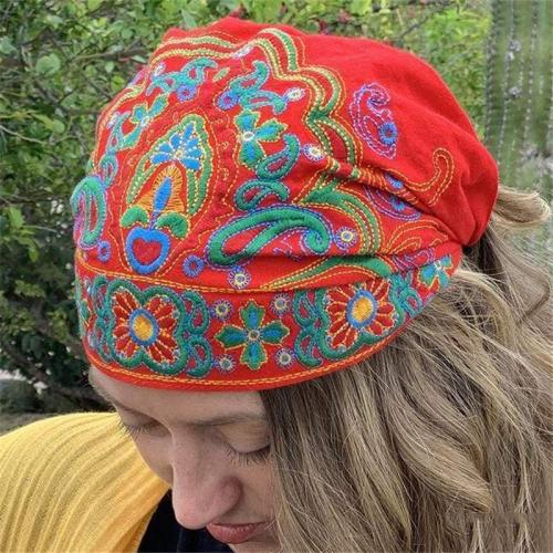 Ethnic Style Embroidery Flowers Slouch Skullcap Cap Beanie Hat