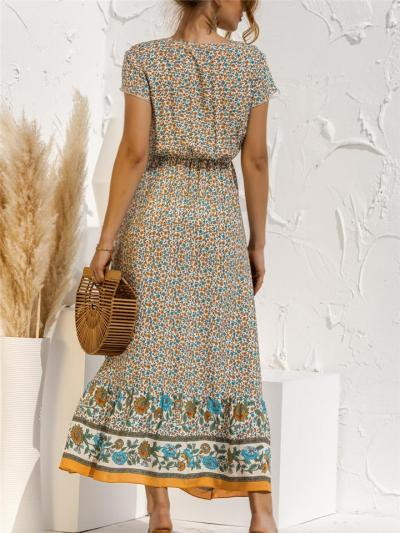 Feminine Charm Waist Drawstring V Neck Floral Pattern Midi Dress