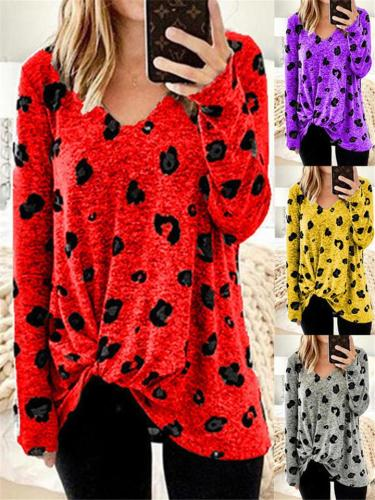 Relaxed Fit V Neck Long Sleeve Print Pullover Shirt
