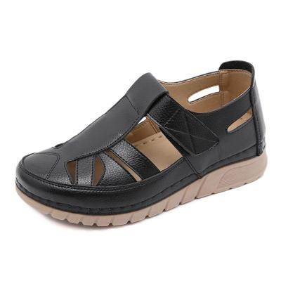 Stylish Cut-Out Design Wedge Heel Closed-Toe Velcro Sandals