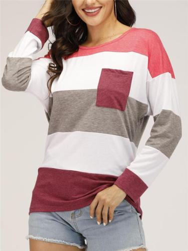 Women Stylish Color Patchwork Long Sleeve T-shirt