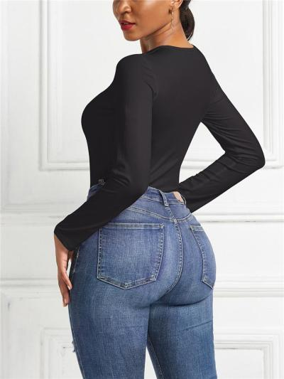Slim Fit Round Neck Long Sleeve Solid Color Bodysuit