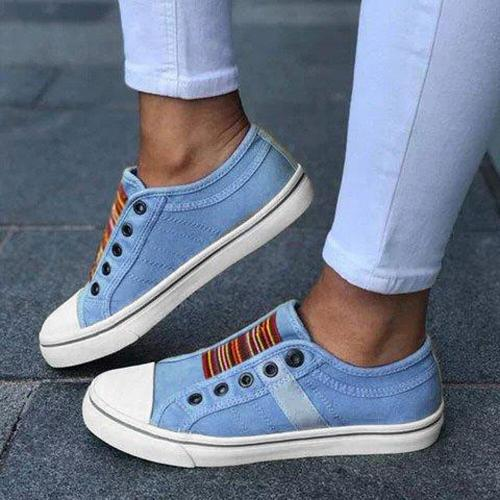Women's Large Size Elastic Wearable Casual Flat Canvas Shoes