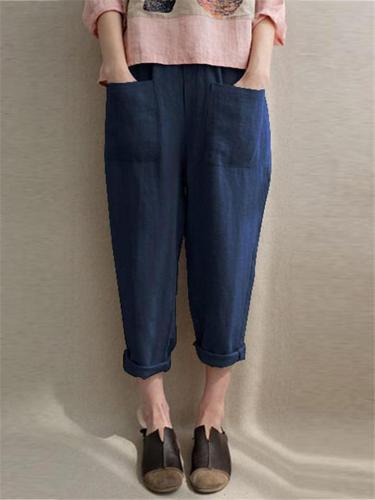 Casual High Waist Front Pocket Cotton Linen Pants