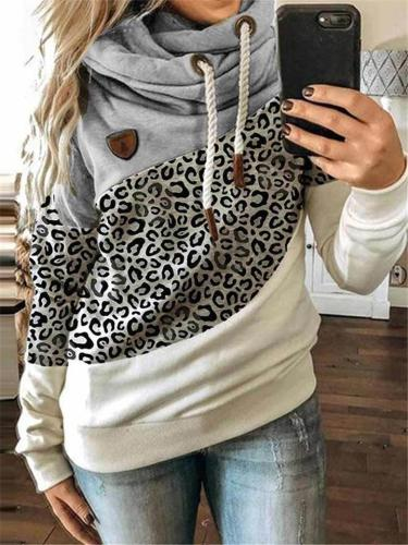 Leopard Color Patchwork LongSleeve Hooded Sweatshirt