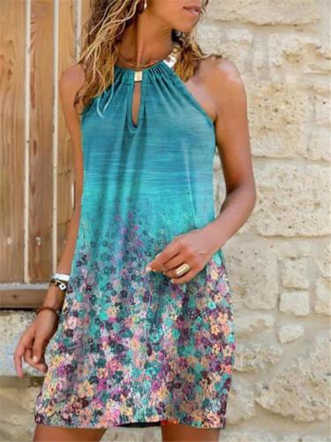 Halter Neck Thigh-Length Sleeveless Multicolor Print Mini Dress