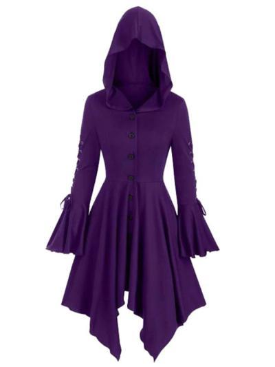 Button Hooded Asymmetric Hem Bell Long Sleeve Cloak Dress