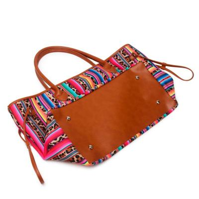 Trendy Ethnic Style Striped Leopard Soft Touch Handbag Shoulder Bag