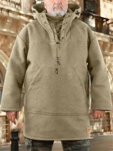 Men's Outdoor Woolen Pullover Hooded Coat For Winter