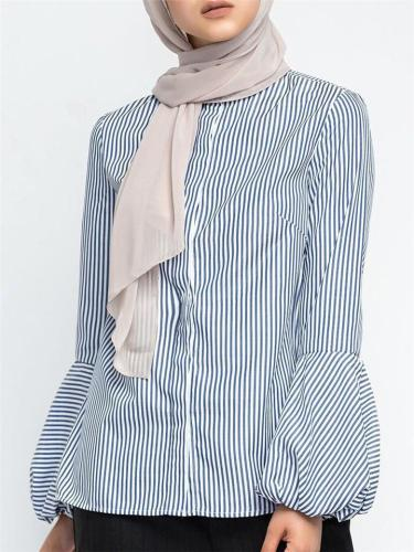 Casual Stripe Puff Sleeve Stand Collar Button Loose Shirts