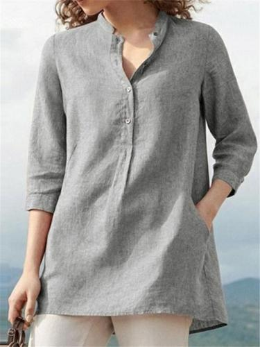 Women's Solid Color Seven-point Sleeve Stand-up Collar Cotton Linen Pullover Shirts