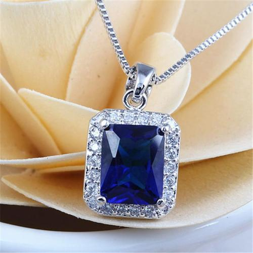 Sparkling Clear Square Cubic Zirconia Pendant Necklace