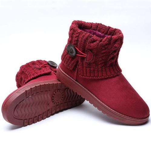 Warm Woolen Flat Heel Ankle Snow Boots For Winter