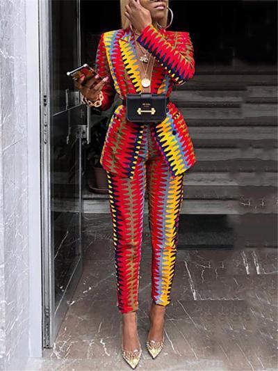 Multicolor Two Piece Suit Button Up Blazer + Straight Leg Pants