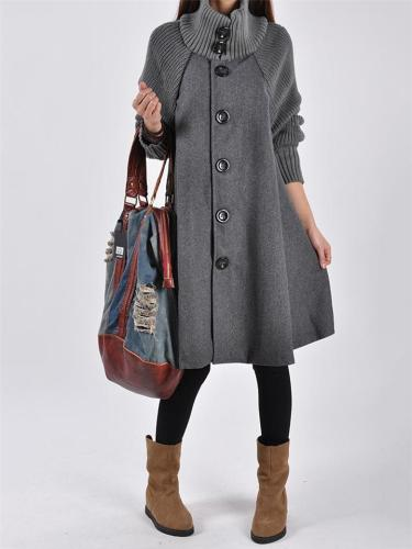 Loose Fit Button Up Long Sleeve A-Lined Woolen Midi Length Coat