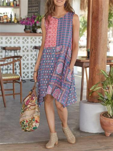 Bohemian Style Round Neck Pocket Sleeveless Midi Length Dress