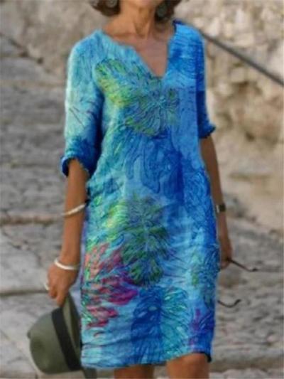 Casual Fit Half Sleeve V Neck Leaf Printed Pullover Midi Dress