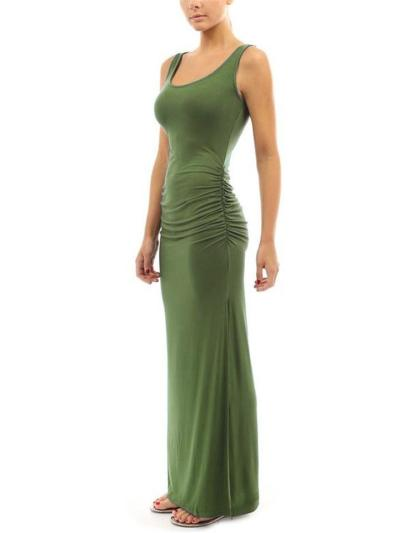 Scoop Neck Sleeveless Ruched Design High Slit Maxi Dress