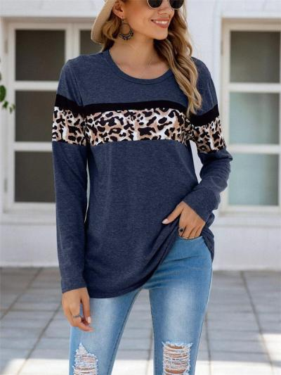 Relaxed Fit Round Neck Leopard Pattern Long Sleeve Pullover Tops