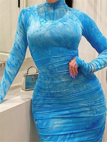 Sexy Plus Size Tie-Dye Print Bodycon Dress