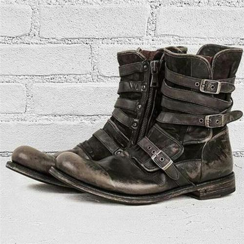 Men's Vintage Style Buckle Up Side Zipper Chunky Low Heel Boots