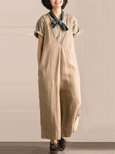 Loose Fit Low V Neck Sleeveless Wide-Leg Pocket Cotton Linen Jumpsuit