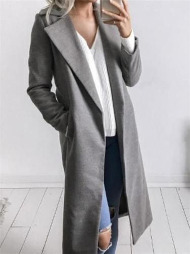 Ultra Cozy Solid Color Notched Collar Pocket Long Coat