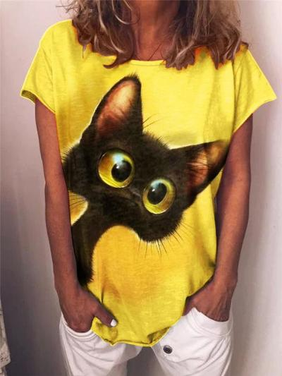 Casual Fit Round Neck Cat Printed Short Sleeve Pullover T-Shirt